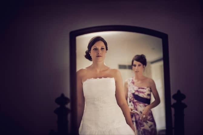 Bride in a mirror